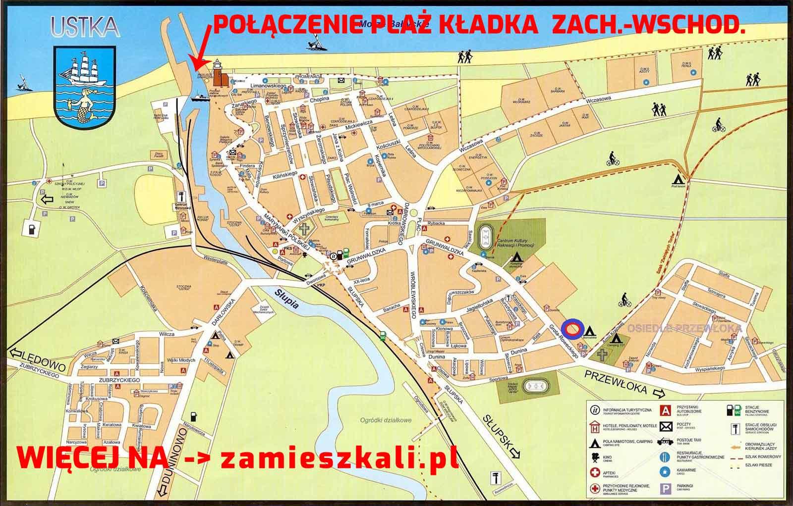 Mapa Ustka - zamieszkali.pl - połączenie plaży wschodniej i zachodniej
