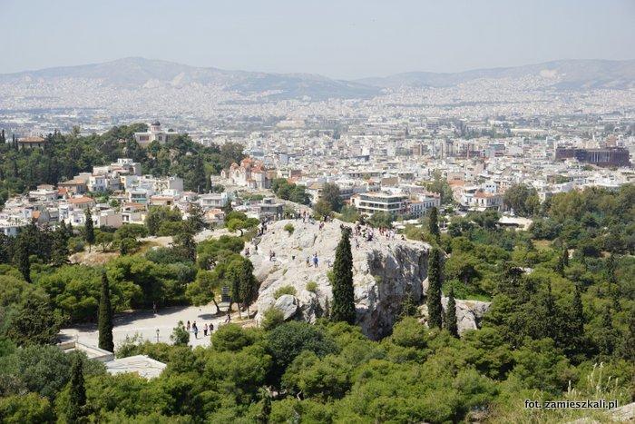 Areopag Ateny widok z Akropolu