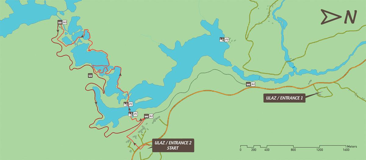 Jeziora Plitwickie trasa zwiedzania E