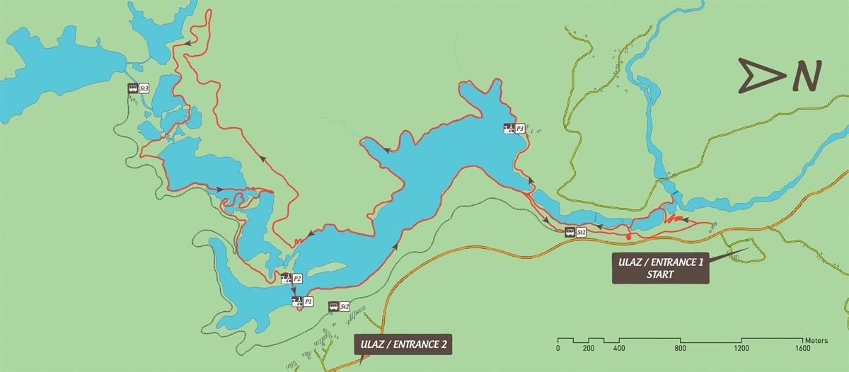 Jeziora Plitwickie trasa zwiedzania K/1