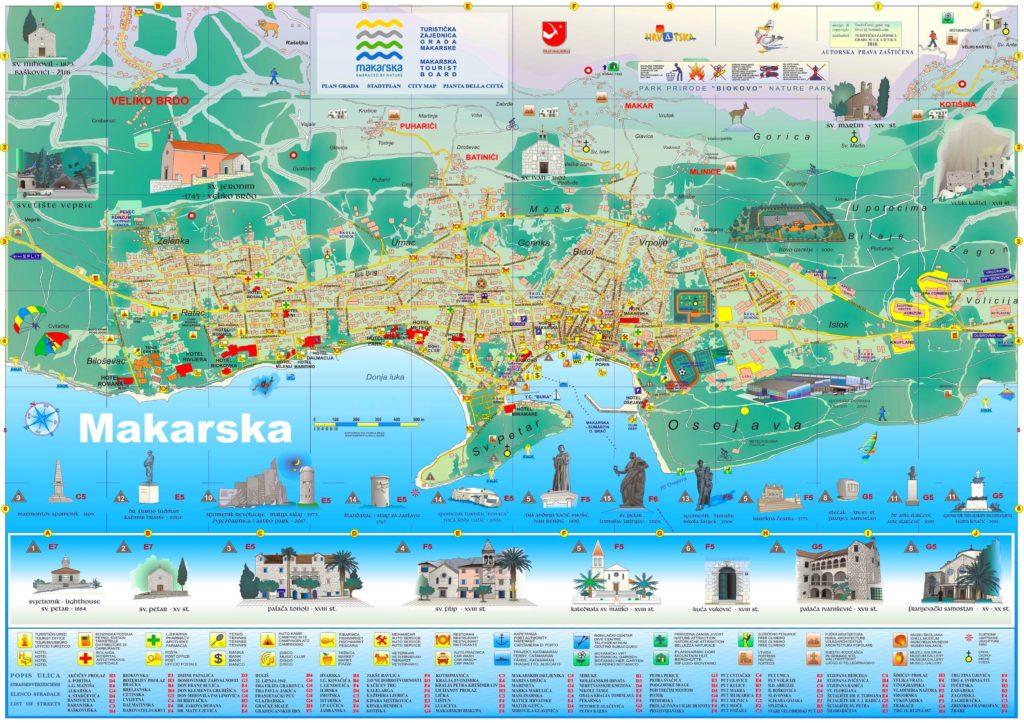 Makarska mapa atrakcje turystyczne